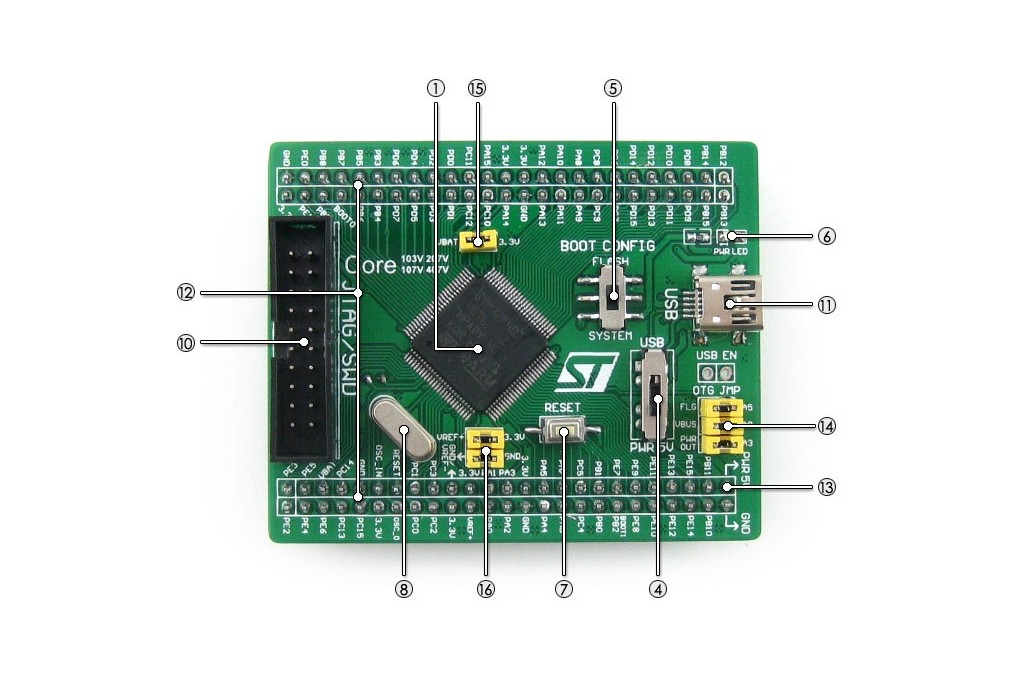 Open407V-C Standard, STM32F4 Development Board - Green Electronics Store