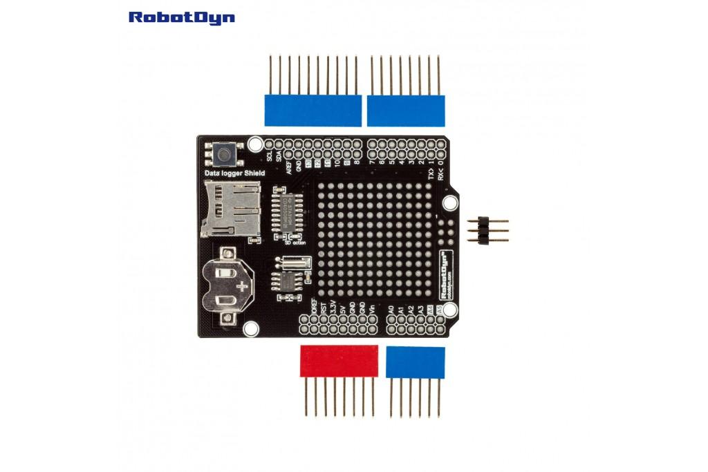 Data Logger Shield for Arduino, MicroSD-card + RTC - Green