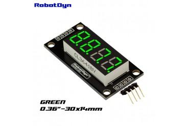 4-Digit LED Display Tube, 7-segments, TM1637, 30x14mm (Green (decimal point))