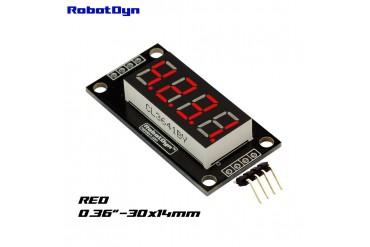 4-Digit LED Display Tube, 7-segments, TM1637, 30x14mm (Red (decimal point))
