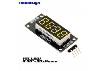 4-Digit LED Display Tube, 7-segments, TM1637, 30x14mm (Yellow (decimal point))