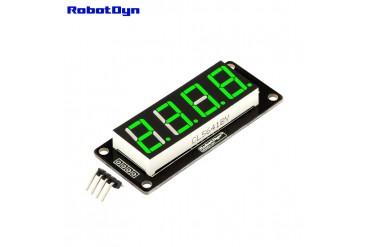 4-Digit LED Display Tube, 7-segments, TM1637, 50x19mm (Green (decimal point))