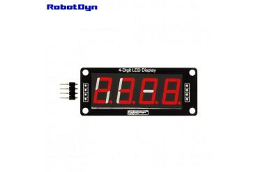 4-Digit LED Display Tube, 7-segments, TM1637, 50x19mm (Red (decimal point))