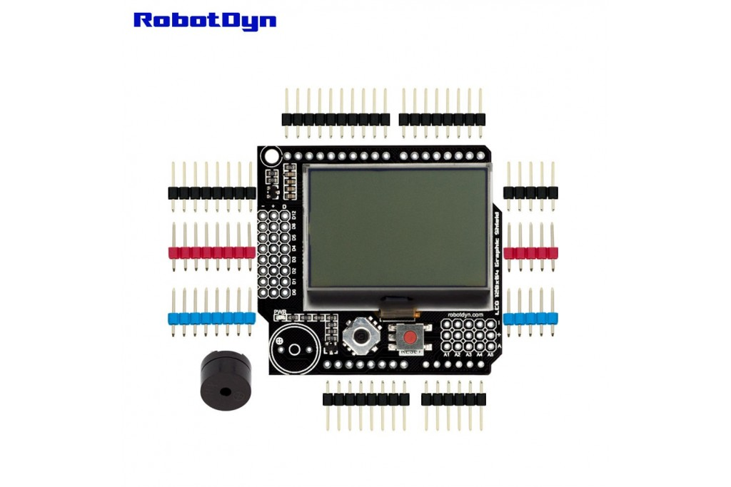 Graphic LCD 128x64 + Buzzer, Shield for Arduino (Semi-assembled