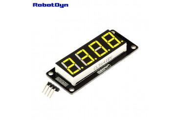 4-Digit LED Display Tube, 7-segments, TM1637, 50x19mm (Yellow (decimal point))