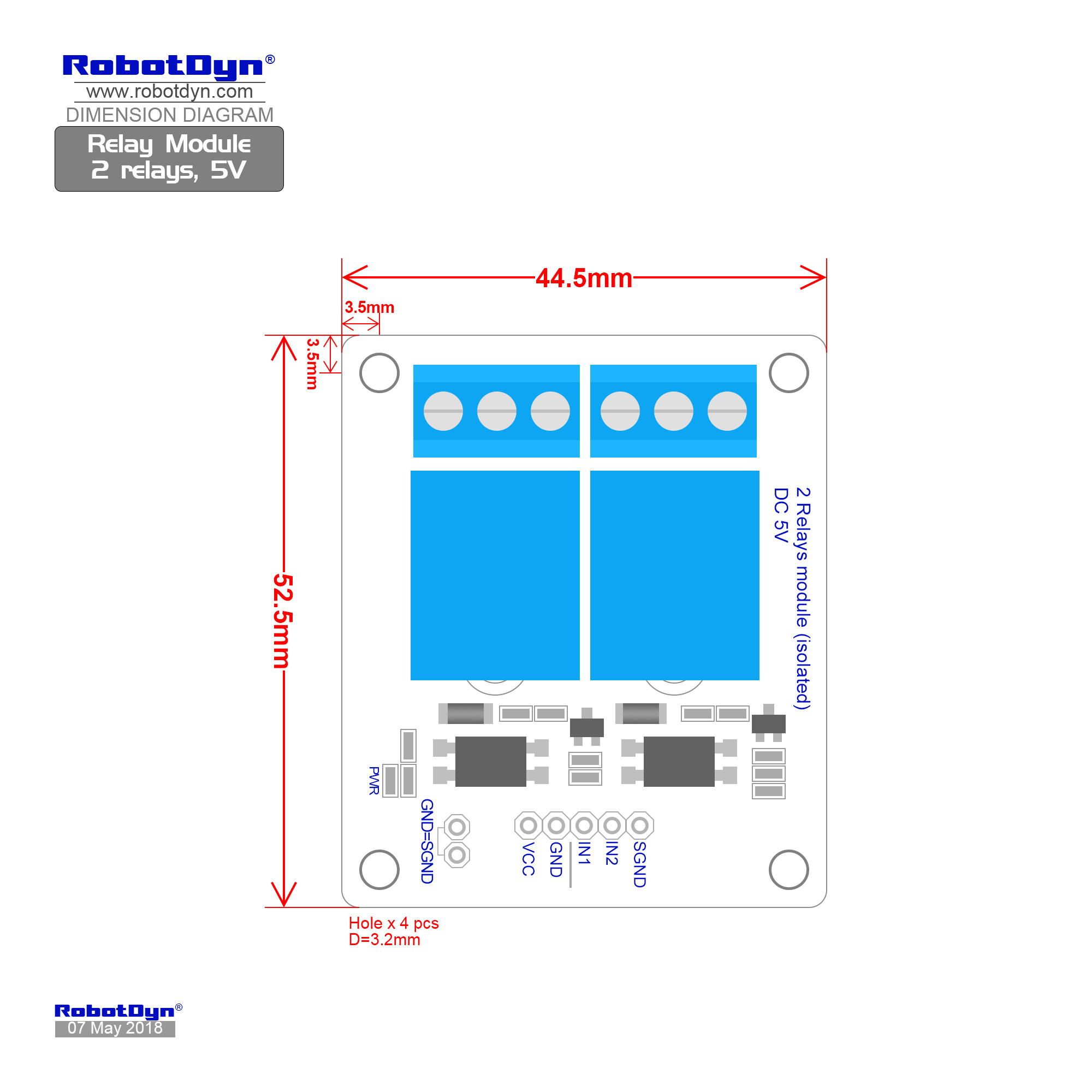 Relay Module 2 Relays 5v Green Electronics Store With Arduino Circuit On Dc To Ac Schematic Dimensions