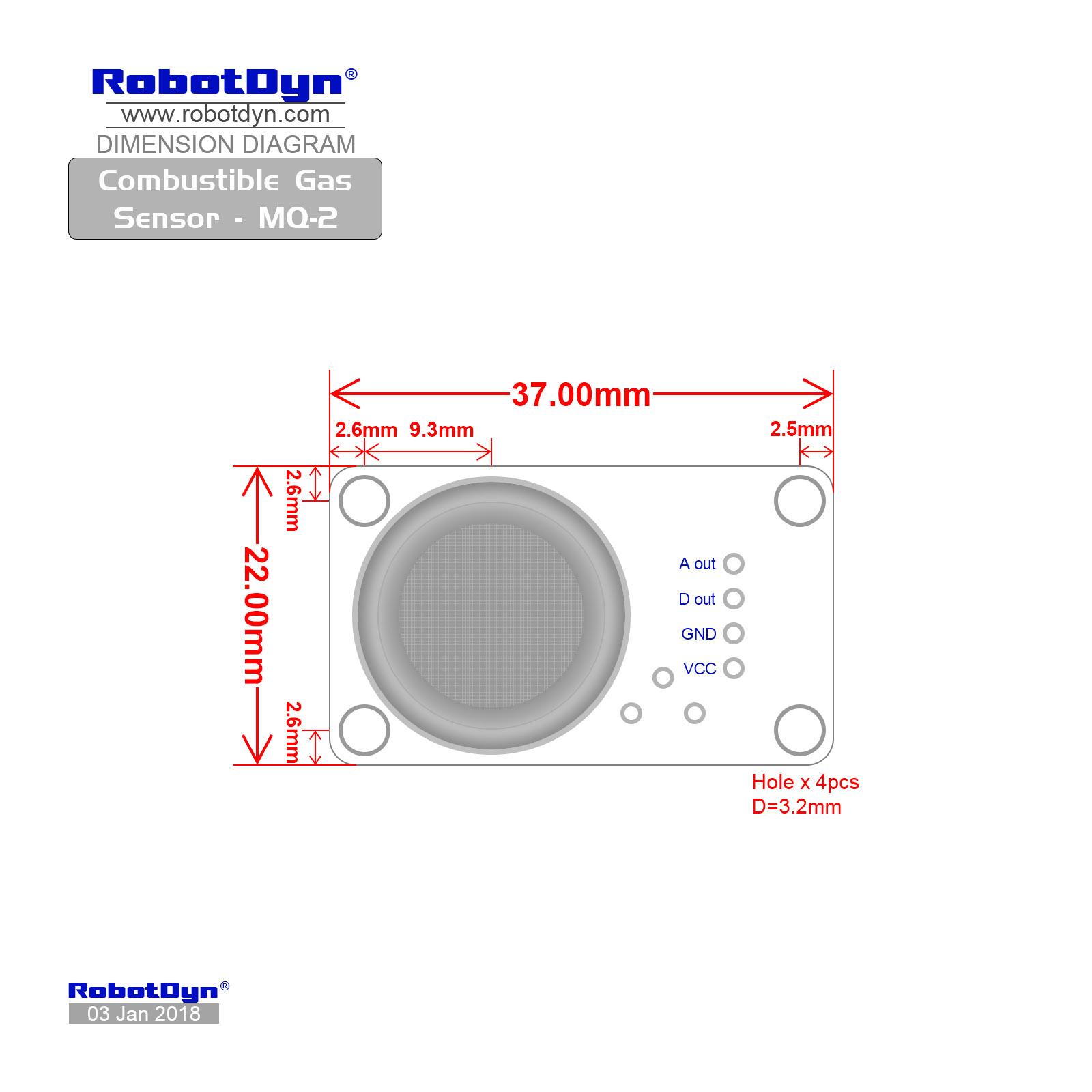 Combustible Gas Sensor Mq 2 Green Electronics Store 6 Circuit Diagram Dimensions